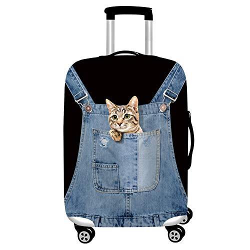 Haodasi Katze Blau Muster Kofferschutzhülle Gepäckabdeckung Waschbar Kofferhülle Reisezubehör (ohne Koffer) Größe M passen 22 24 Zoll