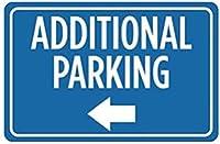 追加の駐車場の白い左矢印。金属スズサイン通知街路交通危険警告耐久性、防水性、防錆性