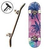 YOUMI Skateboard 31X8 Pouces Skateboard Standard Débutant Professionnel Rue Double Pension Pension Complète Costume De Skateboard Adapté Aux Filles Garçons,Coconut Tree