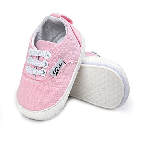 Baby Canvas Shoes - Infant Girls Boys Sneakers Anti-Slip Toddler First Walkers Slip On Newborn Crib Shoes(Pink,6-12month)