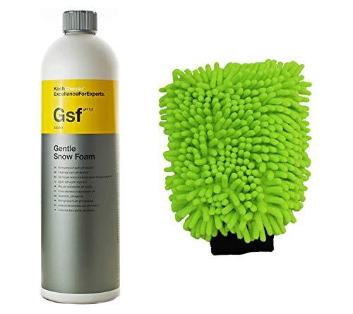 Koch Chemie - Gsf Gentle Snow Foam Shampoo per auto, pH neutro, 1000 ml, con guanti MC per lavaggio auto
