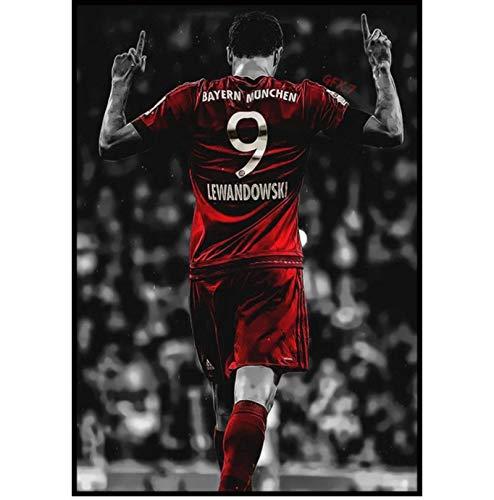 DNJKSA Robert Lewandowski Bayern München Fußballstar Wandkunst Raumdekoration Poster Wanddekoration Gemälde Druck auf Leinwand 50x70cm No Frame