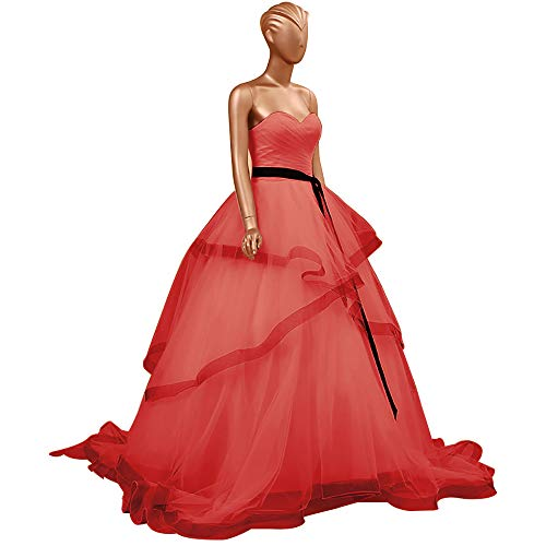HUINI Abendkleider Lang Elegant Hochzeitskleider Organza Ballkleider Rückenfrei Brautkleider Standesamt Brautmode Quinceanera Kleider Rot 36