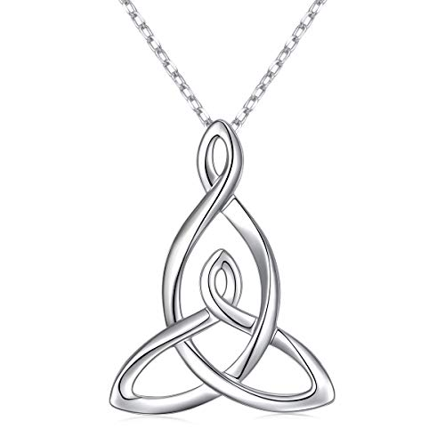 925 Sterling Silver Jewelry Mom Child Mother Daughter Celtic Knot Pendant Necklace for Women Birthday Gift, 16 Inch + 2 Inch