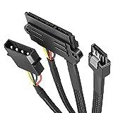 KabelDirekt – Juego de Cables (30cm 22 Pines SATA a 4 Pines Molex Cable de alimentación y 60cm 7 Pines SATA 3 para conectar Discos Duros (SSD, HDD) y Reproductores (CD, DVD, BLU-Ray)),