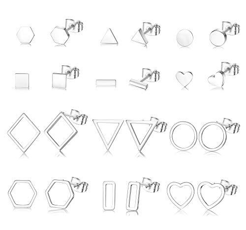 Adramata Juego de 12 pares de pendientes con forma de rombo, hexagonal, con barra triangular y forma de corazón, tono plateado/dorado tono plateado
