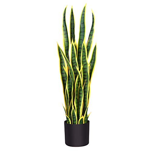 Fopamtri Artificial Snake Plant 38 Inch Fake Sansevieria, Perfect Faux Plants for Home Garden Office Store Decoration, 32 Leaves (38 Inch, 1 Pack, Yellow)