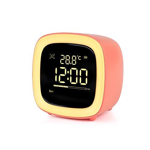 Wecker Digitaler Kinder,Niedliches Nachtlicht Lichtwecker Design mit Countdown/Snooze/Timer Licht/4 Alarme/Stimmenkontrolle/Aufladbarer Wecker für Kinder,Schreibtisch Wohnzimmer Küchenuhr(Orange)