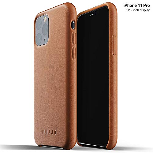 Mujjo Full Leather Case for Apple iPhone 11 Pro | Premium Soft Supple Leather, Unique Natural Aging Effect | Leather Wrapped, Super Slim (Tan)