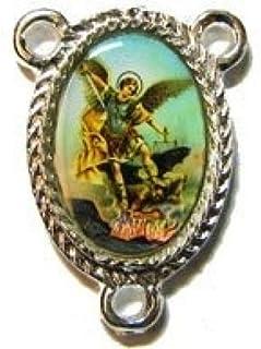 Silver st. centro de san miguel arcángel de rosario religioso conector de unión de 25 mm