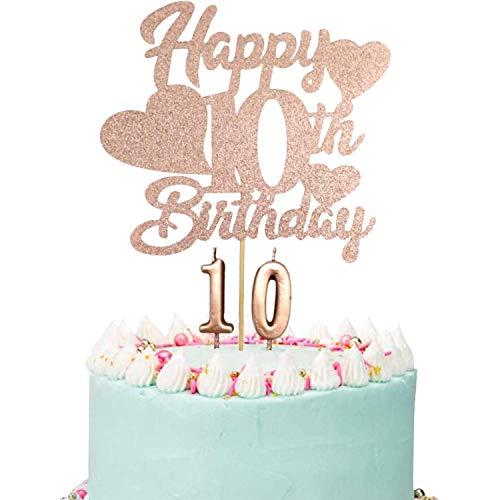 Happy 10th Birthday Cake Topper, Rose Gold 10th Birthday Cake Topper, Double Digits Cake Topper, 10th Birthday Cake Topper for Girls with Number 10 Candles for Girl 10th Birthday Party Decorations