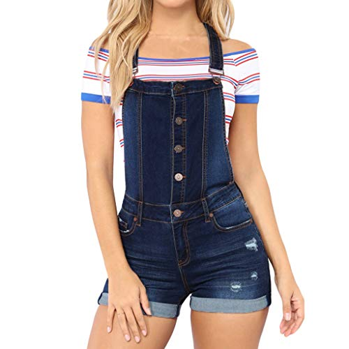 Women's Classic Adjustable Straps Cuffed Hem Denim Bib Overalls Shorts Jumpsuit Romper with Pockets