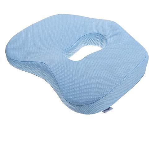 Antislip Orthopedisch Memory Foam zitkussen voor bureaustoel auto rolstoel rugsteun Sciatica Coccyx Tailbone pijnbestrijding Lichtblauw