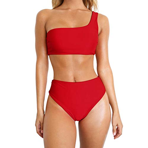TSWRK Damen Bikini Set Zweiteiliger Badeanzug One Shoulder Badeanzug Süß Bademode Einfarbig Bandeau Bademode Schwimmanzug