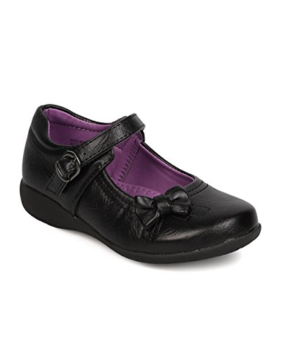 Leatherette Bow Tie Mary Jane Uniform Shoe (Toddler Girl/Little Girl/Big Girl) FB51 - Black (Size: Big Kid 3)