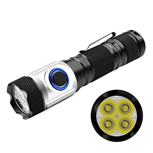 ZZJ LED Multi-Fonction Hard Light, Lampe De Poche Tactique De Chargement USB Glare Mini Lampe De Poche LED Ampoules Set Étanche Rechargeable