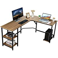 Vanspace 64 Inch Large L-Shaped Computer Desk with CPU Stand
