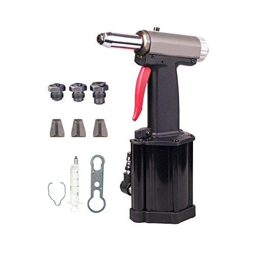 Profesionell Blindnietpistole Druckluft, pneumatische Blindnietzange Nietgerät Mit Mundstücke 3.2 mm, 4.0 mm, 4.8 mm, Zugkraft: 760-1060 kg, Dreibackenfutter