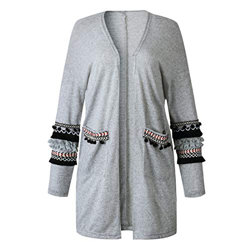 HJHK Coat Women Long-Sleeve Cardigan Fashion Bohemia Embroidery V-Neck Loose Retro Modern Sweatshirt Ladies Elegant Casual Jackets Women Autumn Winter Light Airy Top 3XL
