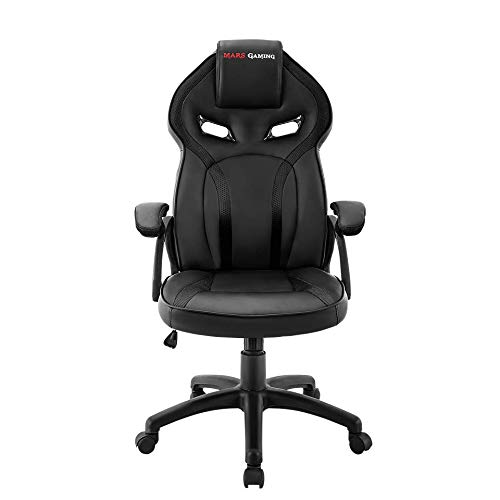 Mars Gaming MGC118, Silla Gaming Ergonomica, Regulable, Recubrimiento PU, Negro