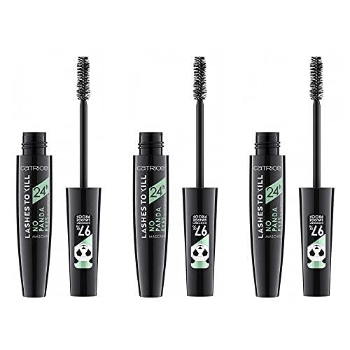 Catrice Lashes To Kill 24h No Panda Eyes Smudgeproof Mascara, Wimperntusche, Nr. 010 Action-Proof Black, schwarz, volumengebend, definierend, matt, vegan, ohne Parfüm, ölfrei, 3er Pack (3 x 10ml)