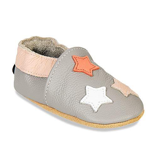 HMIYA Weiche Leder Krabbelschuhe Babyschuhe Lauflernschuhe mit Wildledersohlen für Jungen und Mädchen(12-18 Monate,Hellgrau Stern)