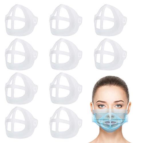 10 soportes 3D de silicona para máscaras, soporte de protección para pintalabios, máscaras de apoyo interior, máscara nasal para la boca y la nariz, aumentar el espacio de respiración