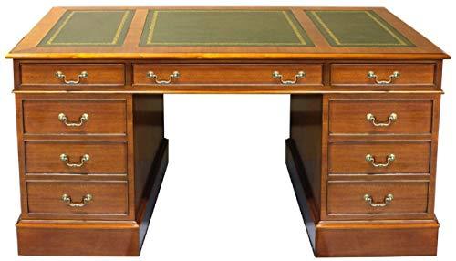 Casa Padrino Escritorio de Lujo marrón Claro/Verde/Oro 140 x 70 x A. 78 cm - Mesa de Oficina de Madera Maciza de Estilo inglés - Muebles de Oficina de Lujo