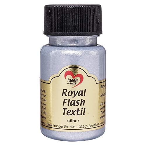 Royal Flash Textil - Colore metallizzato glitterato, 50 ml, altamente coprente, cremoso, per tessuti chiari e scuri, a base d acqua, per dipingere e valorizzare magliette, borse, tessuti argento