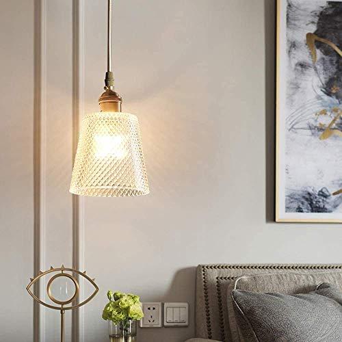 SKSNB Candelabro de Cobre Flameado, candelabro Simple Dorado, Pantalla de Vidrio, Cuerda Ajustable en Altura, Mesa de Comedor y lámpara de Dormitorio, candelabro E27 [A Energy]