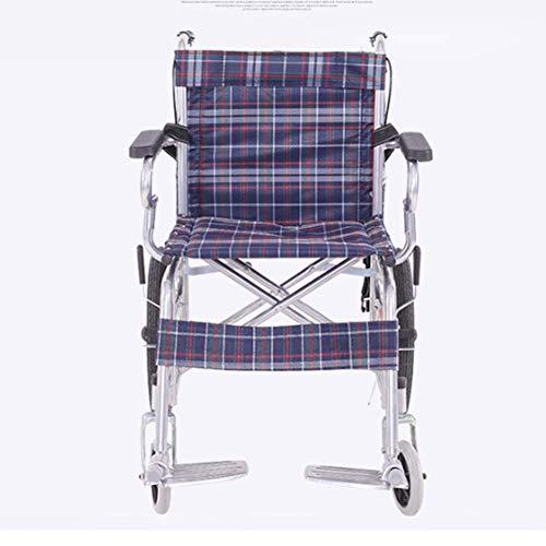 Yhtech Ligera silla de ruedas plegable de conducción médica, Silla de ruedas de acero grueso tubo luminoso de edad avanzada con silla de ruedas for niños portátil de frenos Adecuado para la rehabilita