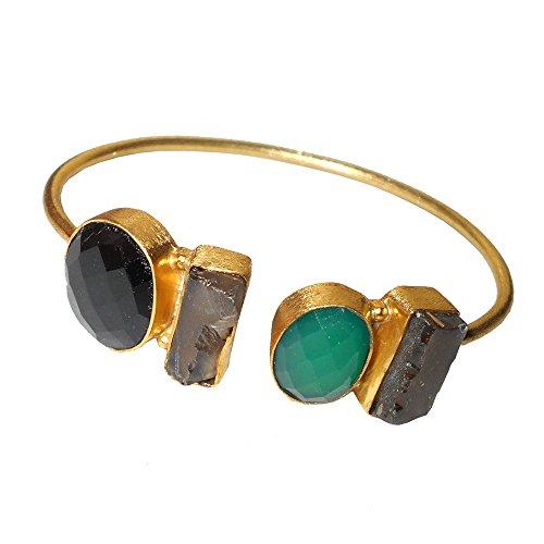 22K Oro Amarillo Vermeil latón verde Onyx y piedra cuarzo ahumado pulsera de puño