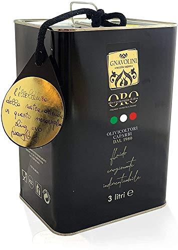 Olio Extravergine di Oliva 100% ITALIANO Estratto a Freddo di Gnavolini Raccolta Sapore | Latta da 3 Litri | Olio Evo per l'eccellenza in Cucina