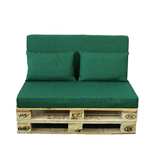 TIENDA EURASIA® Cojines para Palets - 10 Colores - Conjunto 4 Piezas - Funda de Tela Lavable y Relleno de Espuma de 11 cm - Ideal para Espacios de Interior y Exterior (Verde Botella)