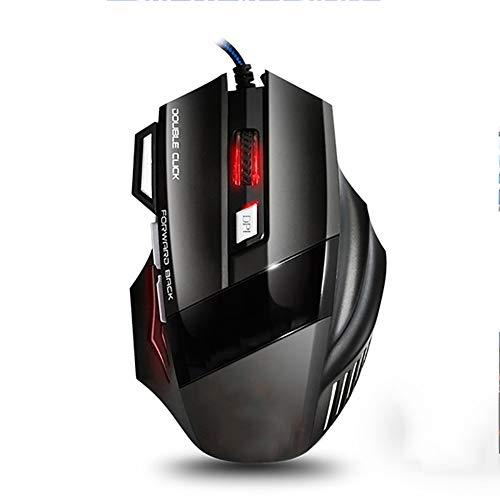 TYW Ratón para Juegos con Cable, ergonómico Atado con Alambre el ratón del Juego 7 Botón 2400 dpi USB LED del ratón del Ordenador Ratones Mause con luz de Fondo para el Ordenador portátil PC
