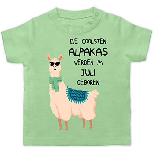 Geburtstag Baby - Die coolsten Alpakas Werden im Juli geboren Sonnenbrille - 6/12 Monate - Mintgrün - adventskalender für Baby - BZ02 - Baby T-Shirt Kurzarm