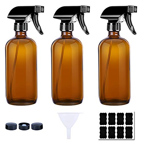 Glass Spray Bottle 8 oz (3 Pack Amber Bottles, 8 Labels, 1 Funnel by PrettyCare) Fine Mist Sprayers Dispenser for Essential Oils, Aromatherapy and Natural Cleaning Products