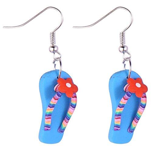 JOE COOL Drop Ohrring Flip Flop mit Blume (blau) mit Kunstharz hergestellt