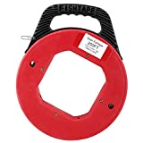 YaeKoo 250ft Fish Tape Reel, Spring-Steel Fishtape with 1/8'(3 mm) Width Steel Pull Line, for Electric or Communication Wire Puller