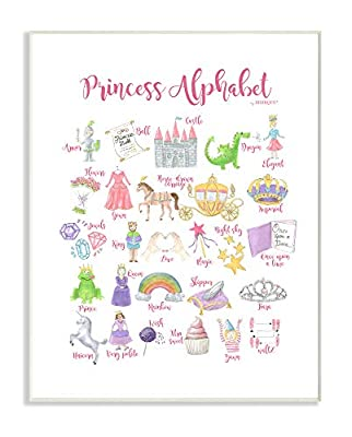 The Kids Room by Stupell Watercolor Princess Alphabet with Castle Dragon and Crown Stretched Canvas Wall Art