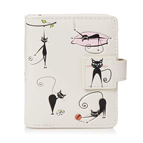 Shagwear Portemonnaie Geldbörse für junge Damen, Mädchen Geldbeutel Portmonaise Designs:, Irre Katzen Creme/ Crazy Cats, SM
