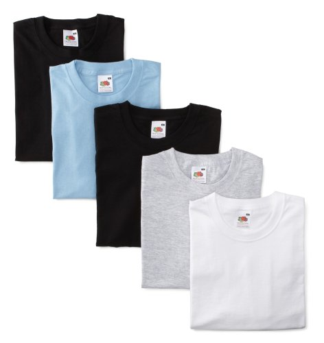 Fruit of the Loom 01 1036 VXY M, 5-Pack Valueweight T-Shirt, grau, hellblau, weiss, 2 x schwarz