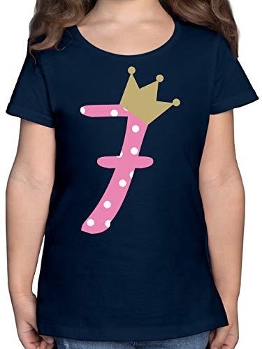 Geburtstag Kind - 7. Geburtstag Krone Mädchen - 128 (7/8 Jahre) - Dunkelblau - 7 Jahre Geburtstag - F131K - Mädchen Kinder T-Shirt