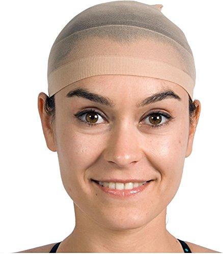 2 Haarnetze in Beige (Hautfarben) für Perücken // Wig Cap Karneval Fasching Verkleidung Theater Haar Netz