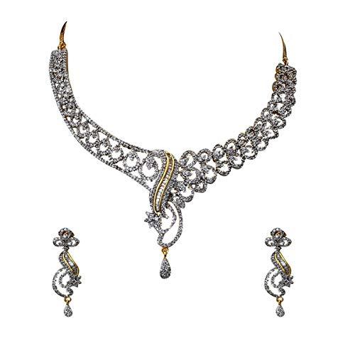 GemsOnClick Mujer Niñas Chapado en oro/plata Multi White zirconio cúbico