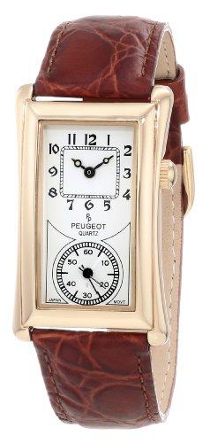 Peugeot Vintage Unisex 14K Gold Plated Contoured Dial Brown Leather Band Doctors Nurse Watch 2038G