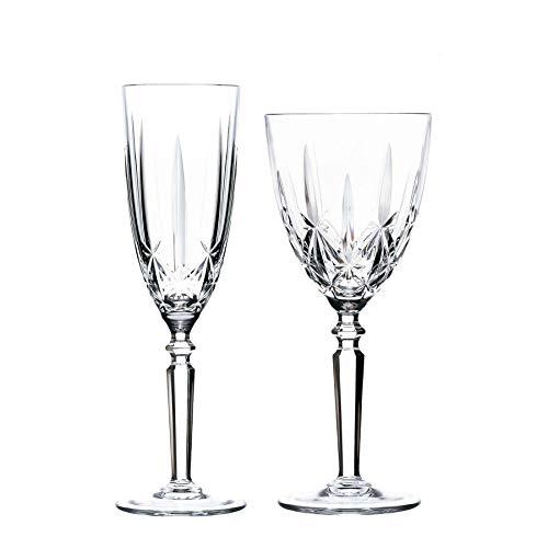 RCR Crystal Orquesta Cortar Vidrio Copas de Vino y Copas de champán - 290 ml, 200 ml - Set 12pc