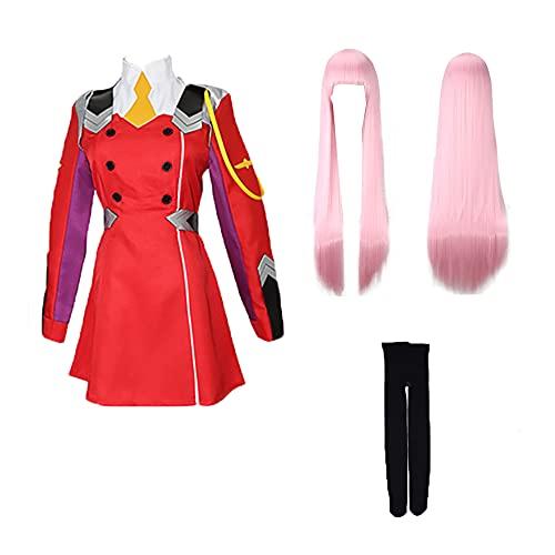 Cosplay Zero Two Darling in The FRANXX Figurines d'anime 02 Zero Two Collants de Combat Rouge Zentai Halloween Femmes Filles Robe de soirée Costume