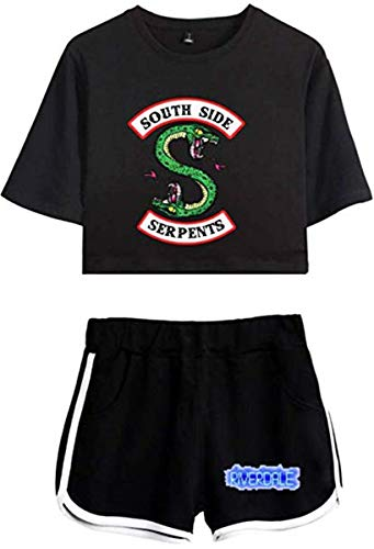Damen Riverdale Southside Serpants Kurzarm T-Shirt+ Kurze Hose Sets Sport Streetwear Bekleidungsets