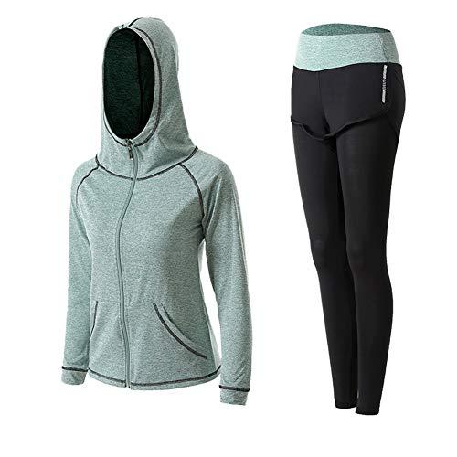 Damen-Yogaanzug, 2-teilig, schnelltrocknend, morgendliches Laufen, Outdoor, Fitnessstudio Gr. XX-Large, grau